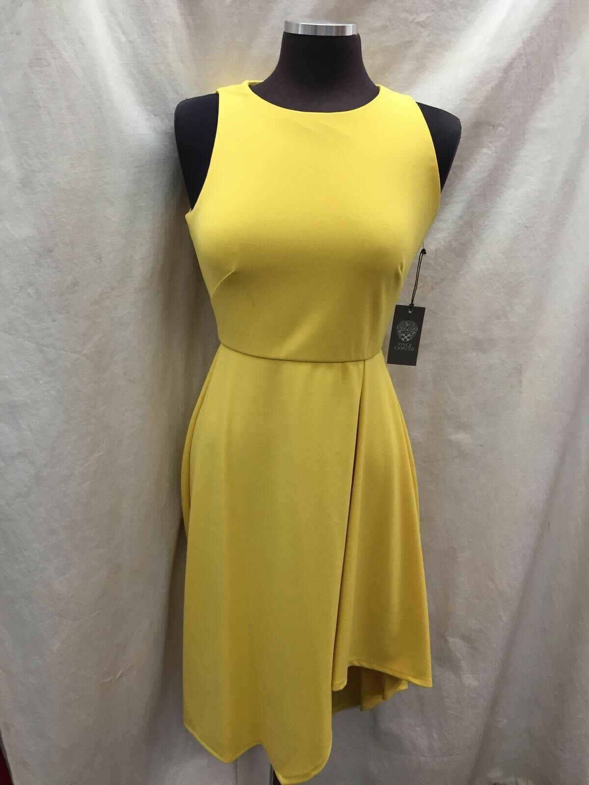 VINCE CAMUTO DRESS MUSTARD Größe 4 NEW WITH TAG RETAIL HIGH LOW