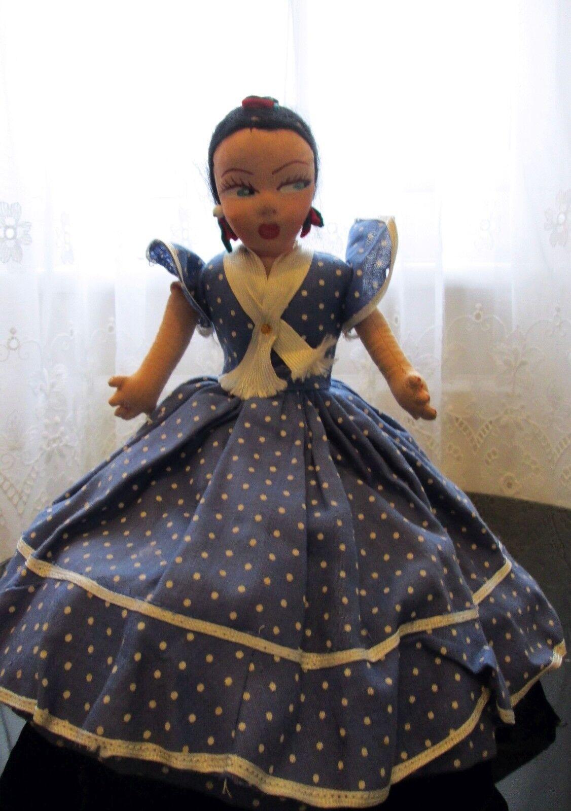 1930s Topsy Turvy Doll Flamenco Spagnolo REGIONALE vestito di pagine muñecas Matarin