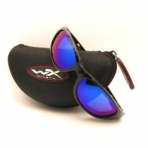 68a413e944c Wiley X Air Rage 698 Polarized Blue Mirror Gloss Black Sunglasses ...