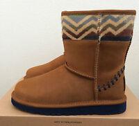 Girls Kids Size 3 Ugg Classic Short Deco Pendleton Boots Chestnut Brown 1009717k