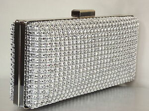 Image is loading Silver-Crystal-Diamante-Effect-Sparkly-Wedding-Bridal- Clutch- d4f7088cf