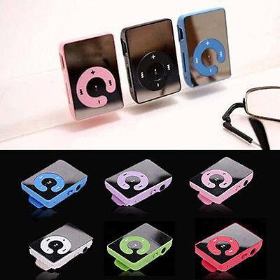 7 Colors Mini Mirror Clip USB Digital Mp3 Music Player Support 4-8GB SD TF Card