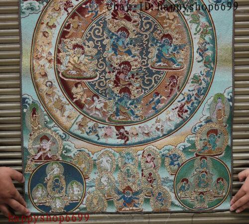 "36/"" Tibet Buddhism Silk Cloth Mahakala Wrathful Deity Thangka Painting Mural a"