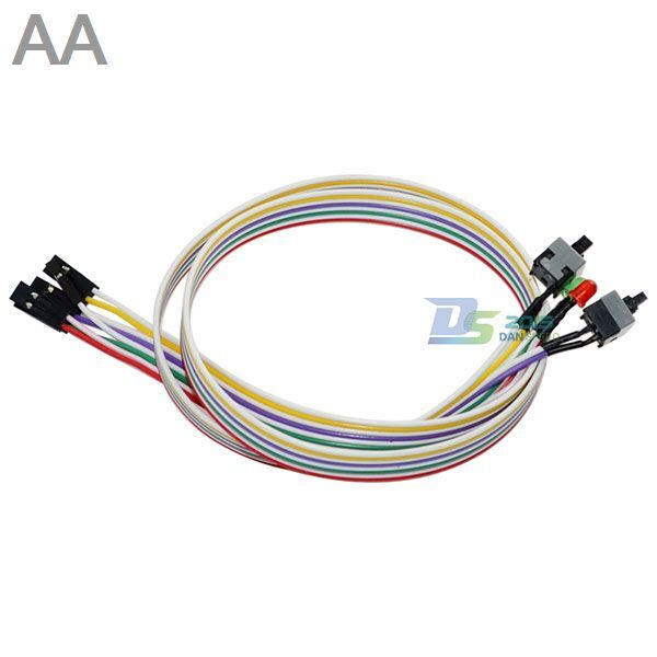 Premium 4in1 65cm PC ATX Power Reset Switch On//Off HDD LED Cable Light Cord Kit