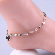 Women Retro Silver Stainless Steel Foot Link Chain Pendant Anklet