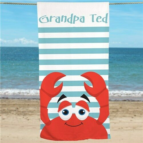 """Personalized 30/""""x60/"""" Striped Crab Beach Towel"""