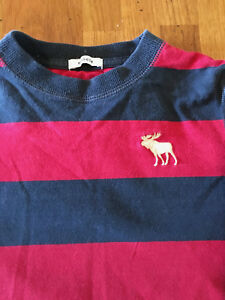 abercrombie kids usa reindeer logo navy and red stripe top size
