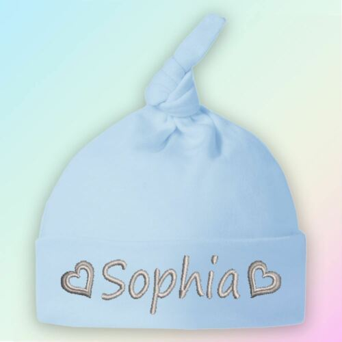 Name Hearts Embroidered Baby Knotted Hat Gift Personalised