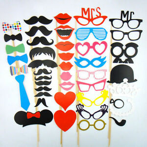 photo booth selfie props moustache on a stick weddings birthday party fun frame. Black Bedroom Furniture Sets. Home Design Ideas