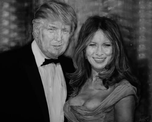 Portrait Of Donald And Melanie Trump Canvas Print Choose Your Size..