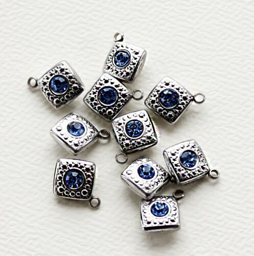 5 Stainless Steel Sapphire Blue Rhinestone Charm Pendants Two Sided MT018