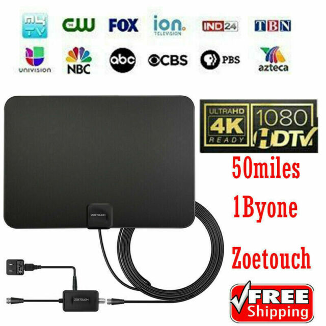 1Byone Newest 50 Miles Range Flat HD Digital Indoor Amplified TV Antenna 1080P