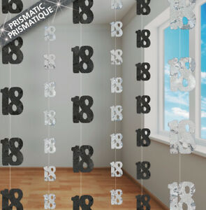 18th-BIRTHDAY-PARTY-SUPPLIES-PK-6-GLITZ-BLACK-AND-SILVER-HANGING-DECORATIONS