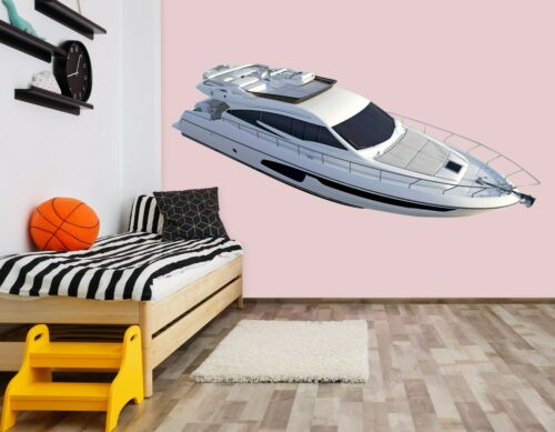Details about  /3D White Yacht G034 Car Wallpaper Mural Poster Transport Wall Stickers Wendy
