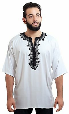 Men Tunic Shirt Cafan Moroccan Casual Handmade Embroidered Cotton Large White