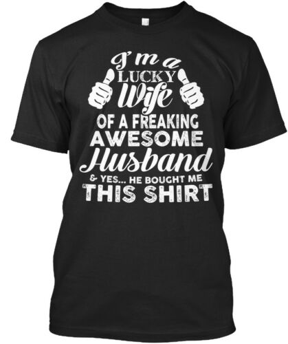 I/'m A Lucky Wife Standard Unisex T-shirt Details about  /Perfect Christmas Gift For Your Wife!
