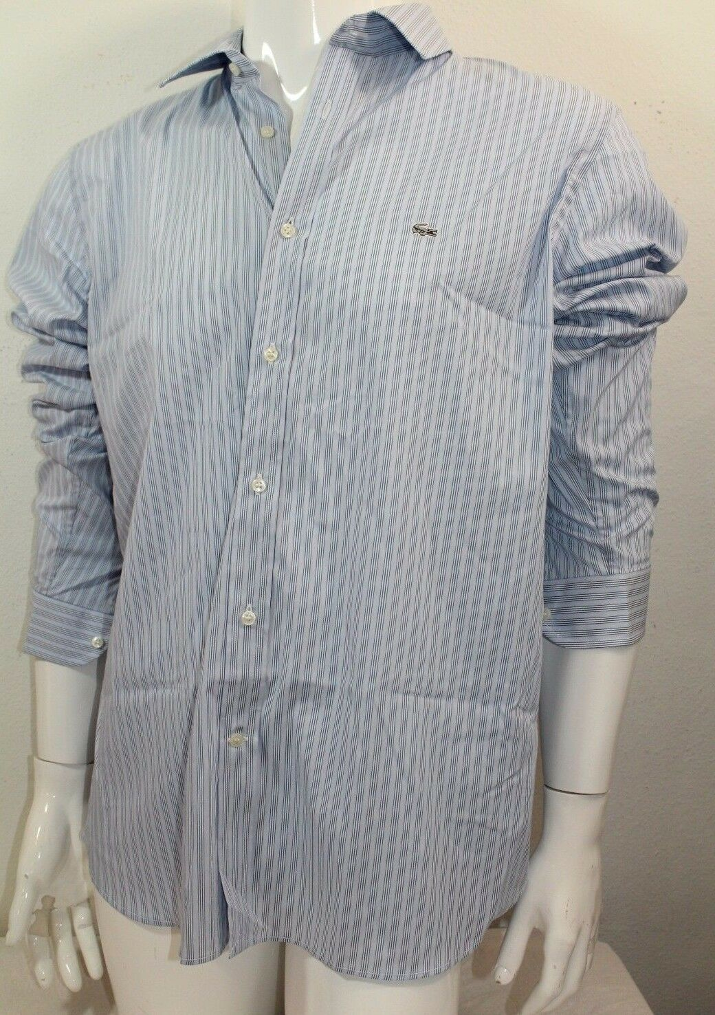 Lacoste Casual Slim Fit Poplin Stretch Woven Button Front Sz XXLarge bluee NWT