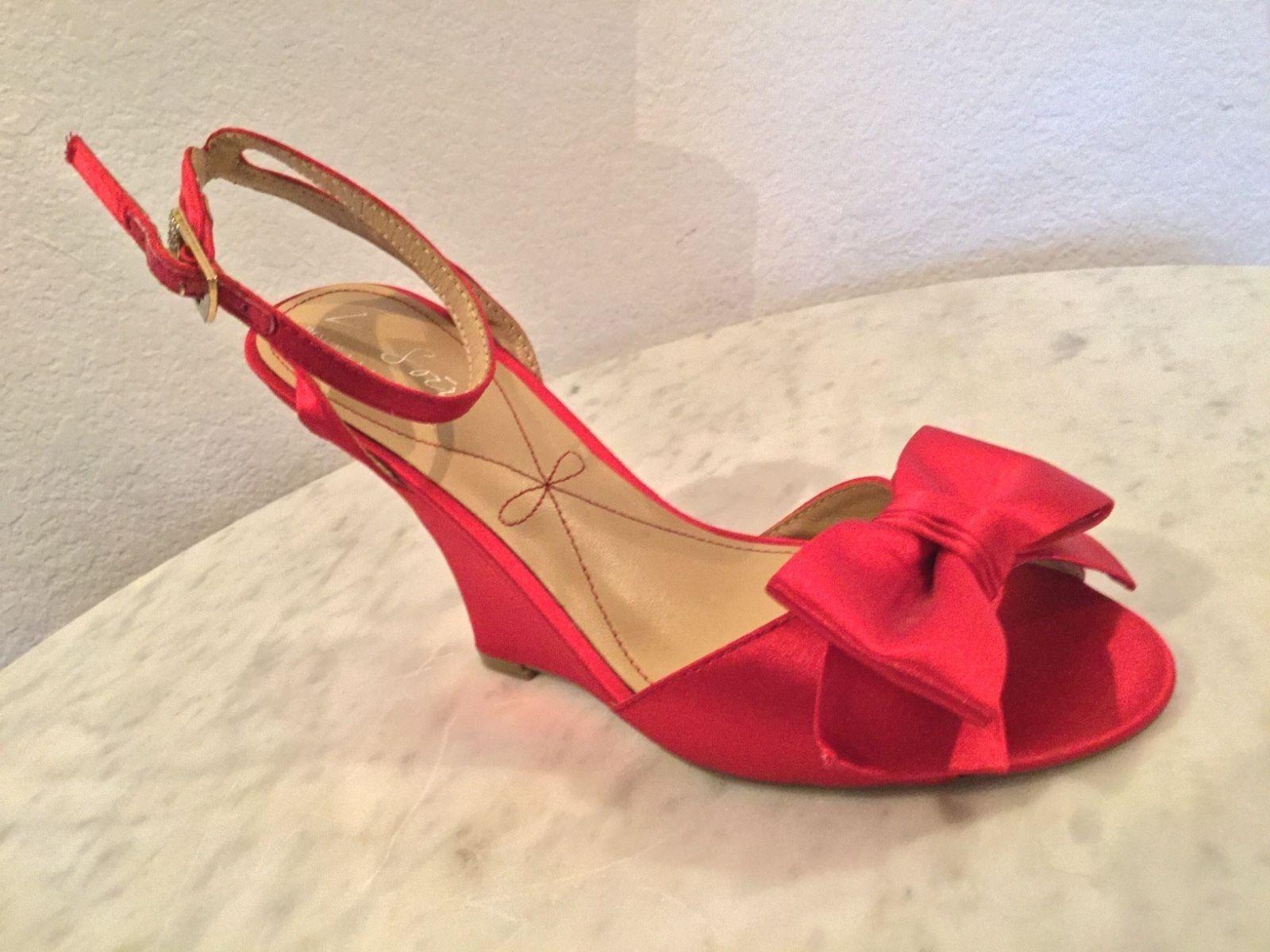 Pour La Victoire Le Soir  Evelia  Red Red Red Satin Wedge Dress Pump Women's Sz 8 M cb95b5