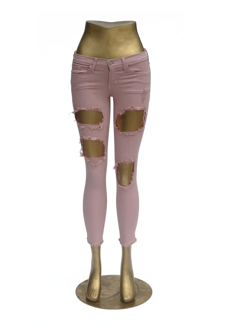 en volant Monkey Jeans L8387 Trous Crop Skinny Quartz Rose Brut Ourlet Neuf avec étiquettes 28 in (environ 71.12 cm)