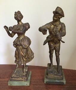 Adolphe Jean Lavergne- Bronze ? Statues Figures Lady & Man