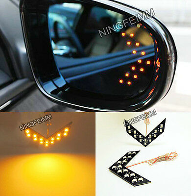 2x Amber 14SMD LED Arrow Panel Rear View Mirror Turn Signal Indicator Light C