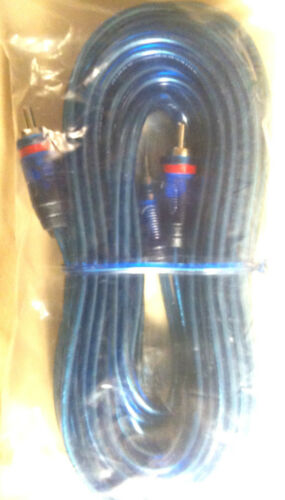 10 PCS 2 CHANNEL 20 Feet BLUE RCA CABLE GOLD PLATED FLEXIBLE FOR CAR STEREO HOME