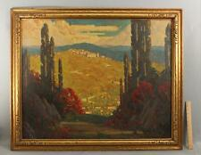 Antique RANDOLPH LASALLE COATS Arts Crafts Italy Cypress Tree Landscape Painting