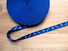 Gurtband Tragegurt Taschengurt in blau mit Knochen und Pfötchen  18 mm
