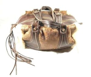 TOUS-Med-Tote-Bag-Brown-Italian-W-Fur-Lining-Outside-Gold-Toned-Rings-Zipped
