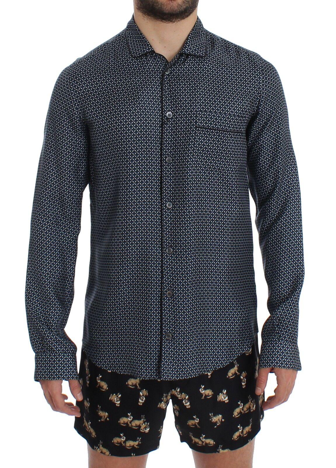 Nuovo Dolce & Gabbana Blu Motivo di Seta con Stampa Pigiama Camicia