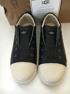 81b9804ab86 UGG Australia Zzinnia Slip-on Black/Beige Youth Leather Shoe US Size ...