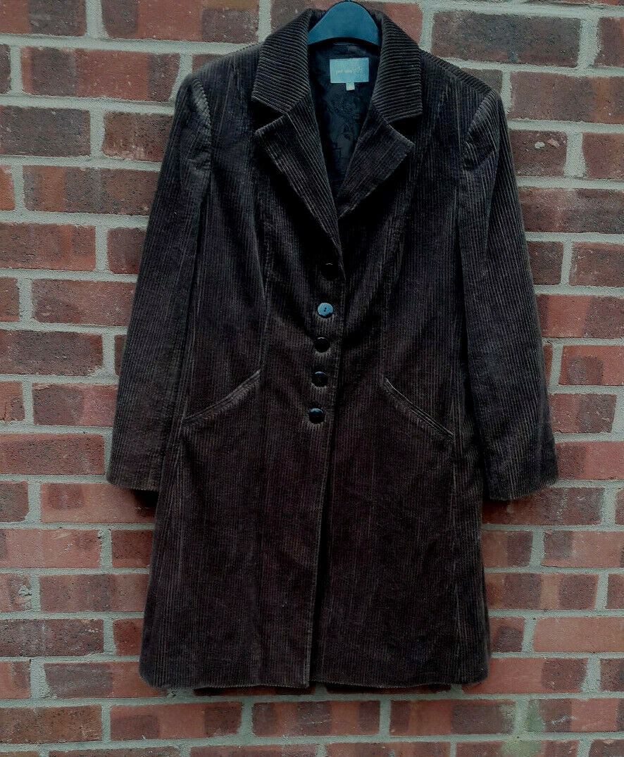 Marks and Spencer Per Una brown corduroy coat size UK size 16