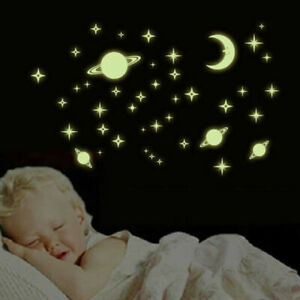 Glow-In-The-Dark-Luminous-Stars-And-Moon-Planet-Space-Wall-Stickers-Decal-Decor