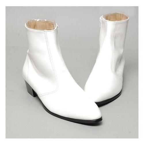 "Men/'s glossy white side zipper hand made KOREA 1.77/"" cuban heels ankle boots"