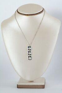 Authentic-Tiffany-amp-Co-Triple-Square-Cushion-Drop-S-S-Pendant-Necklace