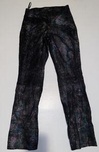 Wilsons-Leather-Maxima-Women-039-s-Black-Colorful-Shiny-Leather-Pants-Biker-Size-2