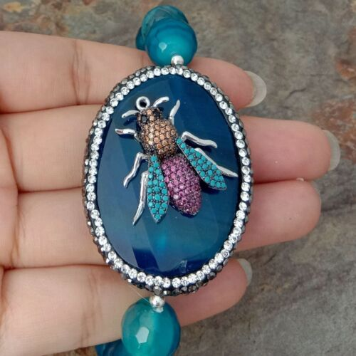 """8/"""" 12 Mm Bleu Agate Stretch Bracelet Oval Agate CZ Insecte Connecteur"""
