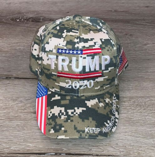 Trump 2020 Keep America Great American Flag Cap Hat Military Camo Camouflage