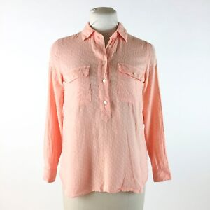 192438409113c Details about Madewell Peach Blouse Sz XS Swiss Dot Textured Popover Shirt  100% Cotton