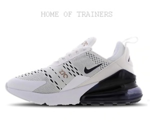 brand new 5b89f 72d24 Details about Nike Air Max 270 White White Blue Kids Boys Girls Trainers  All Sizes