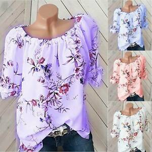 Womens Summer Short Sleeve Floral T Shirt Casual Plus Size Boho Tops Blouse AU