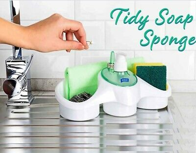 Kitchen Organiser Sink Caddy Basket Dish Cleaning Sponge Holder Soap Dispenser