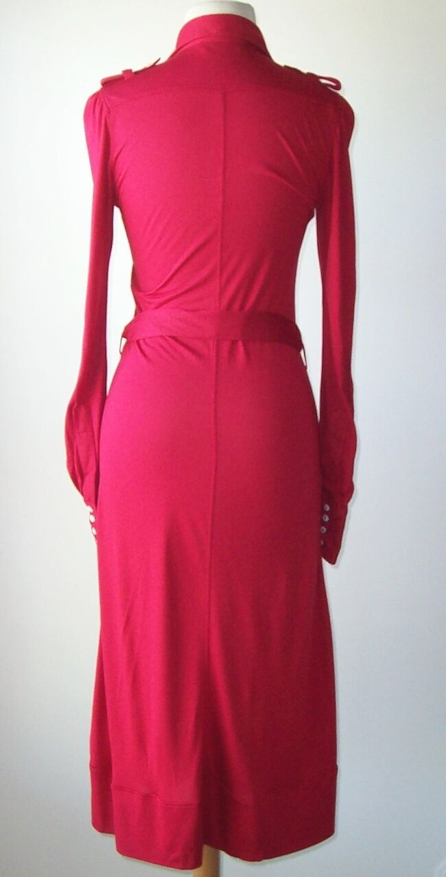 DSQUARED²  Red Long Sleeve Button Belted Dress Dress Dress S fe1005