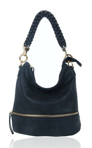 UK New Women/'s Girls Hole Punched Slouch Style Top-Handle Hand Bag With Strap
