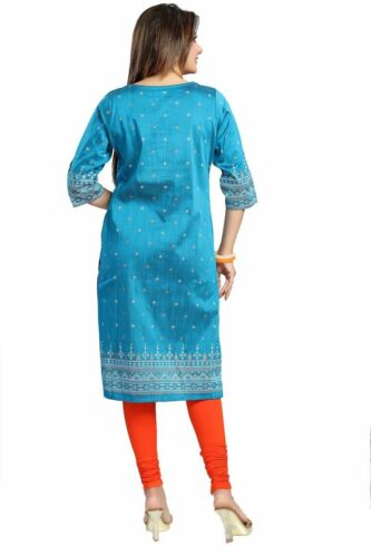 Women Fashion Indian Silk Designer Top Kurti Tunique Kurta Robe Chemise MM126