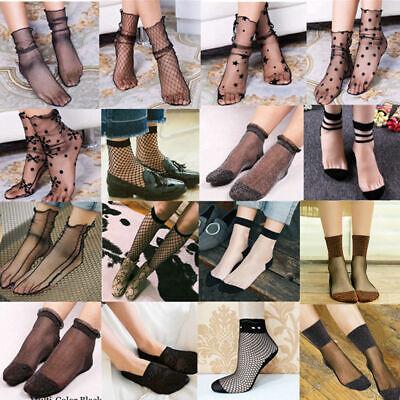 Women Ruffle Fishnet Ankle High Socks Mesh Lace Fish Net Short Socks CA //BW