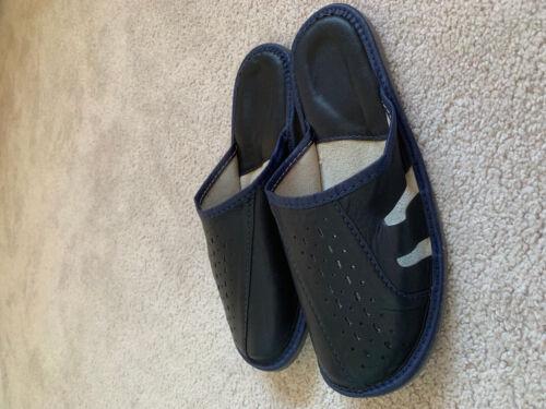 Dark Blue Navy Air circulation holes leather men healthy natural man slippers