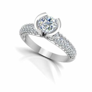 Round-Cut-0-99Ct-Moissanite-14k-White-Gold-Engagement-Rings-Wedding-Band-Size-N