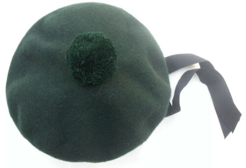 BALMORAL SCOTTISH GREEN ACRYLIC WOOL HAT CAP//Highland Balmoral Cap