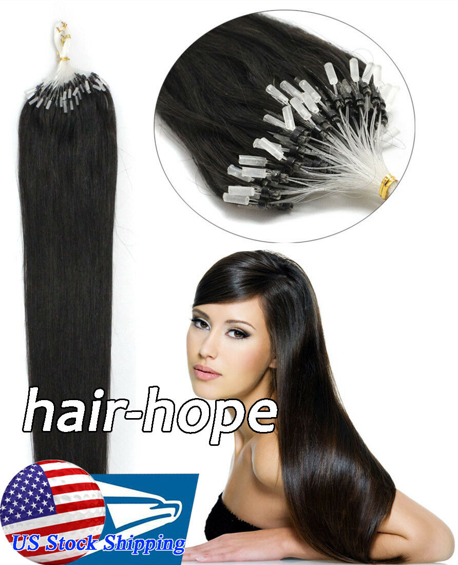 Micro Ring Beads Loop Tip Real Brazilian Remy Human Hair Extensions